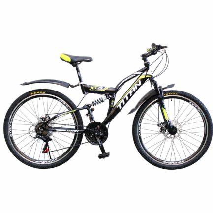 Фото Двухподвесной велосипед Titan Panther 26 черно-неон желто-белый