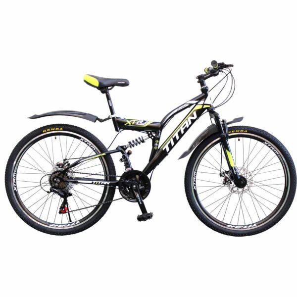 Фото Двухподвесной велосипед Titan Panther 26 черно-желто-белый