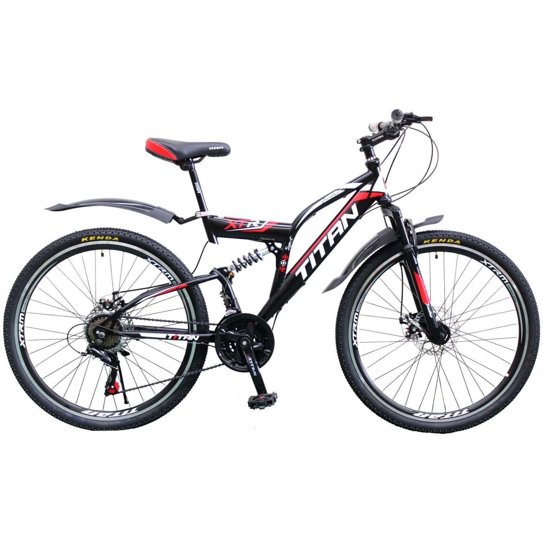 Фото Двухподвесной велосипед Titan Panther 26 черно-красно-белый