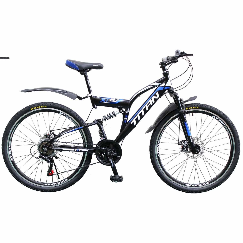 Фото Двухподвесной велосипед Titan Panther 26 черно-сине-белый