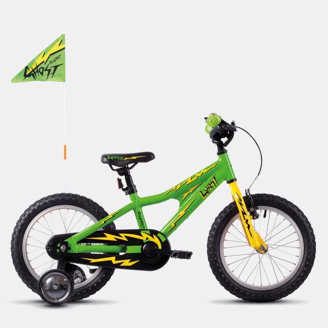 Фото Велосипед Ghost POWERKID 16″ , зелено-желто-черный, 2019