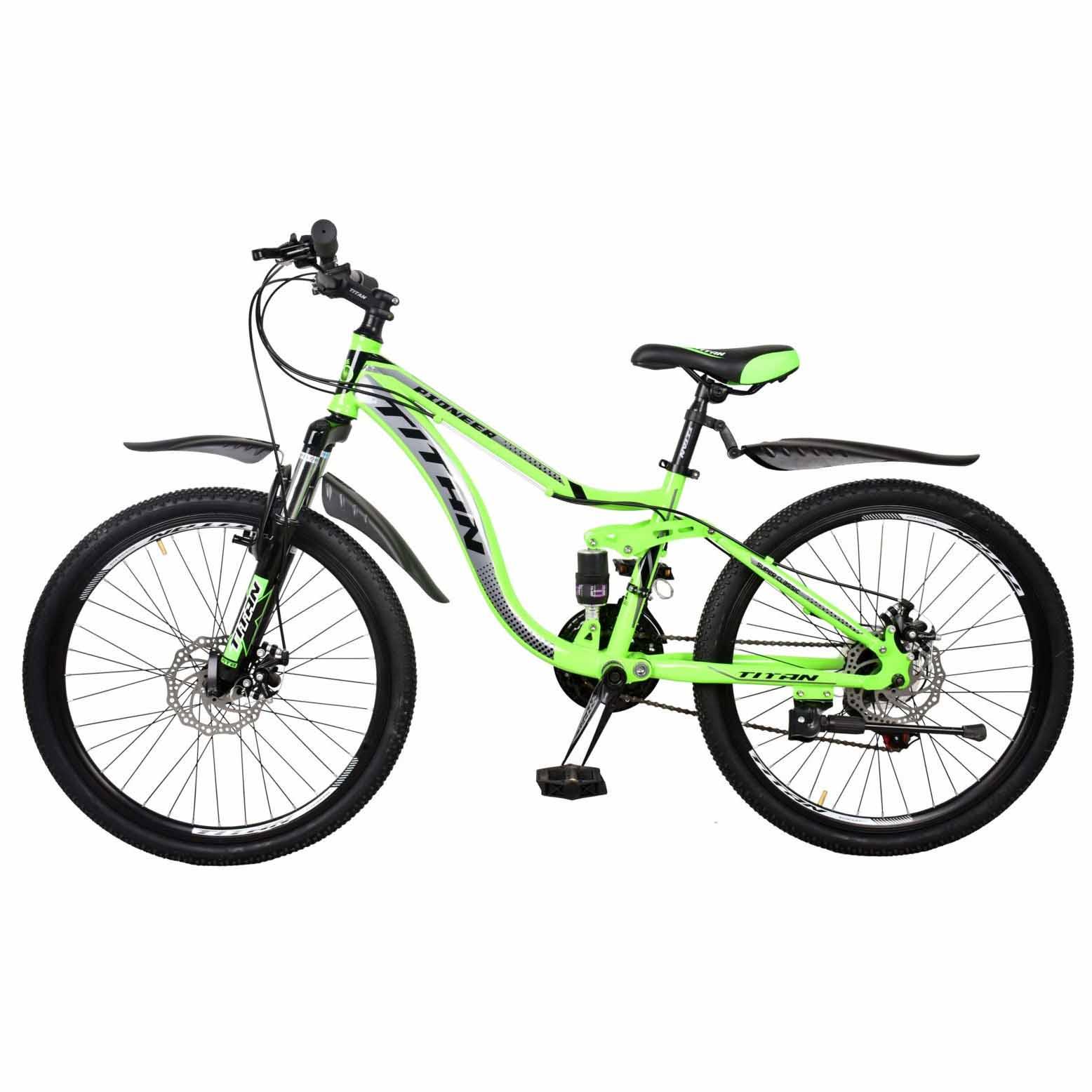 Фото Горный Велосипед 24 Titan Pioneer зелено-серо-черный 2019