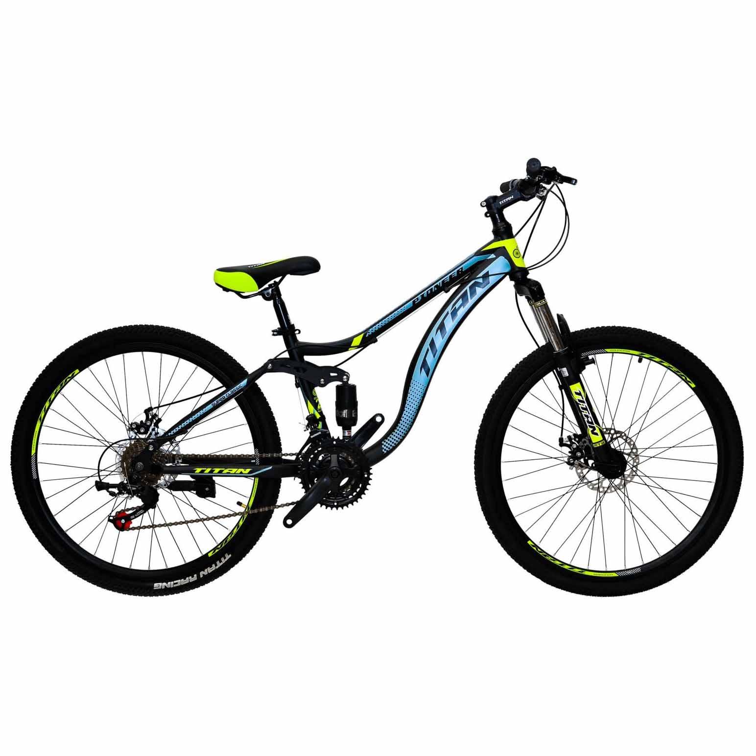 Фото Горный Велосипед 26 Titan Pioneer черно-серо-желтый 2019
