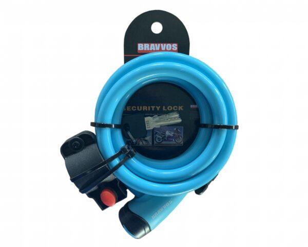 Фото Замок BRAVVOS LOC-065-110 на ключе со стальным тросом 12mmX1500mm голубой